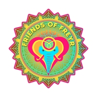 Friends of Freyr Logo image of an elephant-love heart logo representing the elephant people who care for eachother as a family and our planet